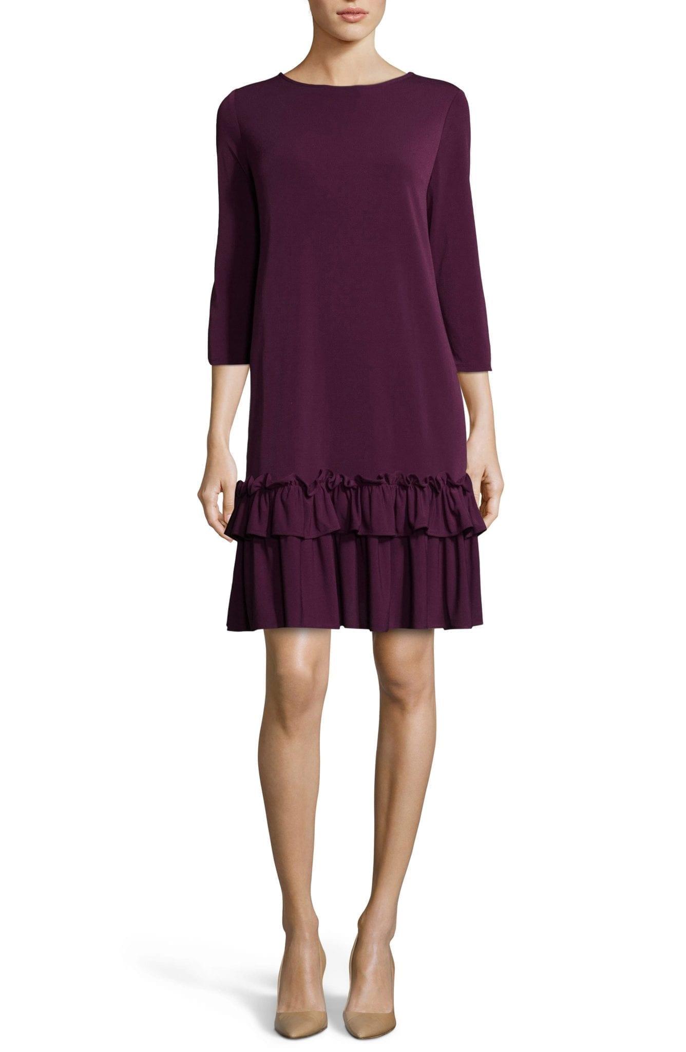 ECI Aline Ruffle Trim Shift Purple Dress