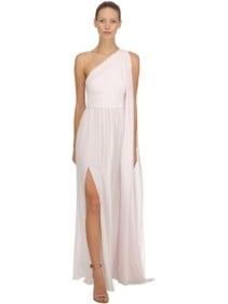 ELIE SAAB One Shoulder Crepe Georgette White Dress