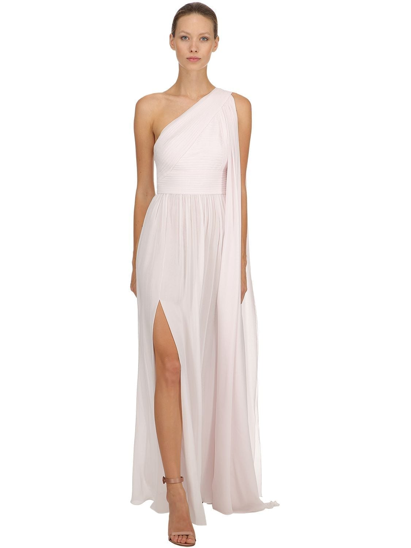 ELIE SAAB One Shoulder Crepe Georgette White Dress