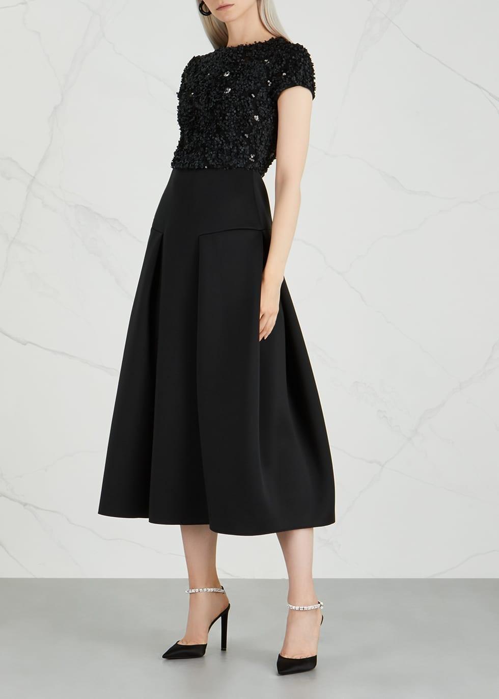 Emporio Armani Fl Liquéd Neoprene Black Dress