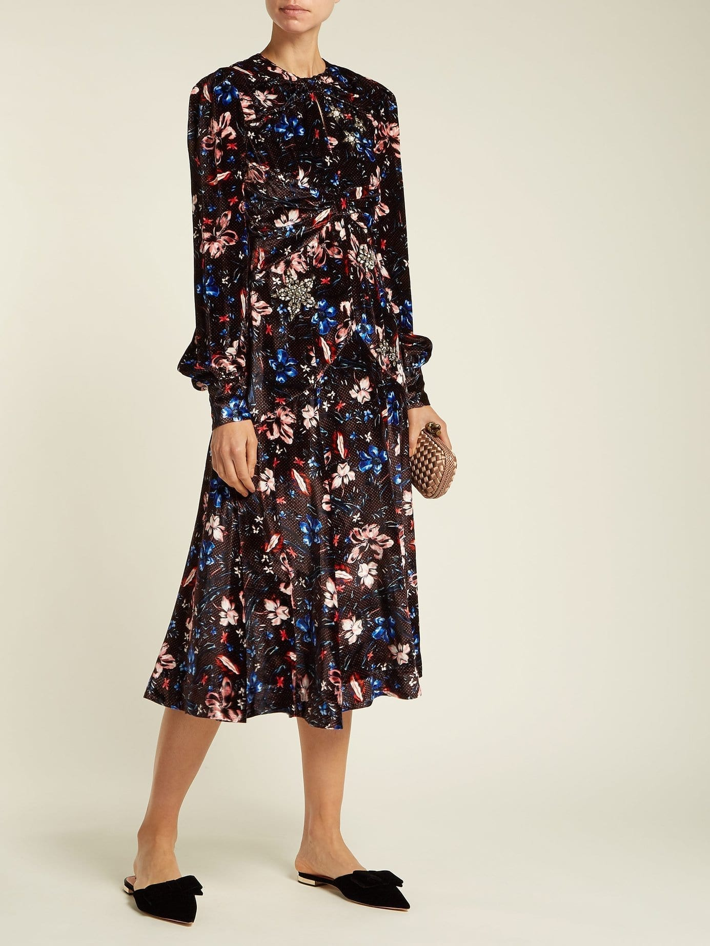 ERDEM Carwen Velvet Burgundy / Floral printed Dress