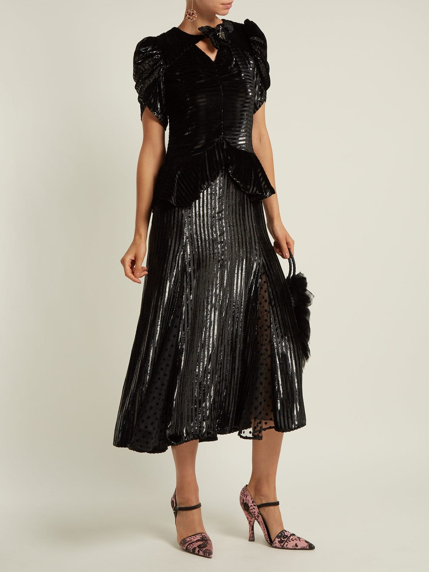 ERDEM Dianthia Striped Velvet Midi Black Dress