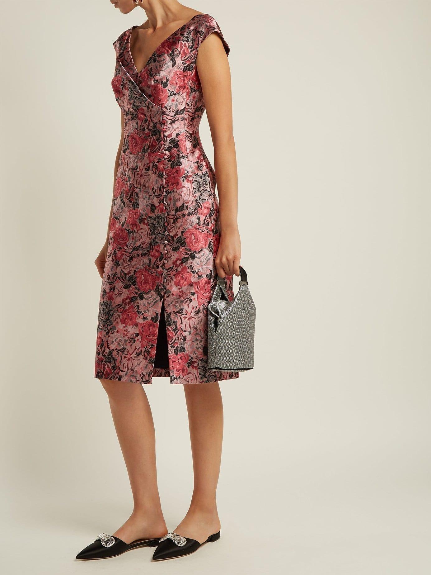 ERDEM Joyti Floral Jacquard Pink Dress