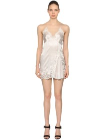 ERMANNO SCERVINO Silk Satin & Macramé Babydoll White Dress