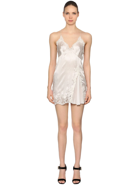 ERMANNO SCERVINO Silk Satin & Macramé Babydoll White Dress
