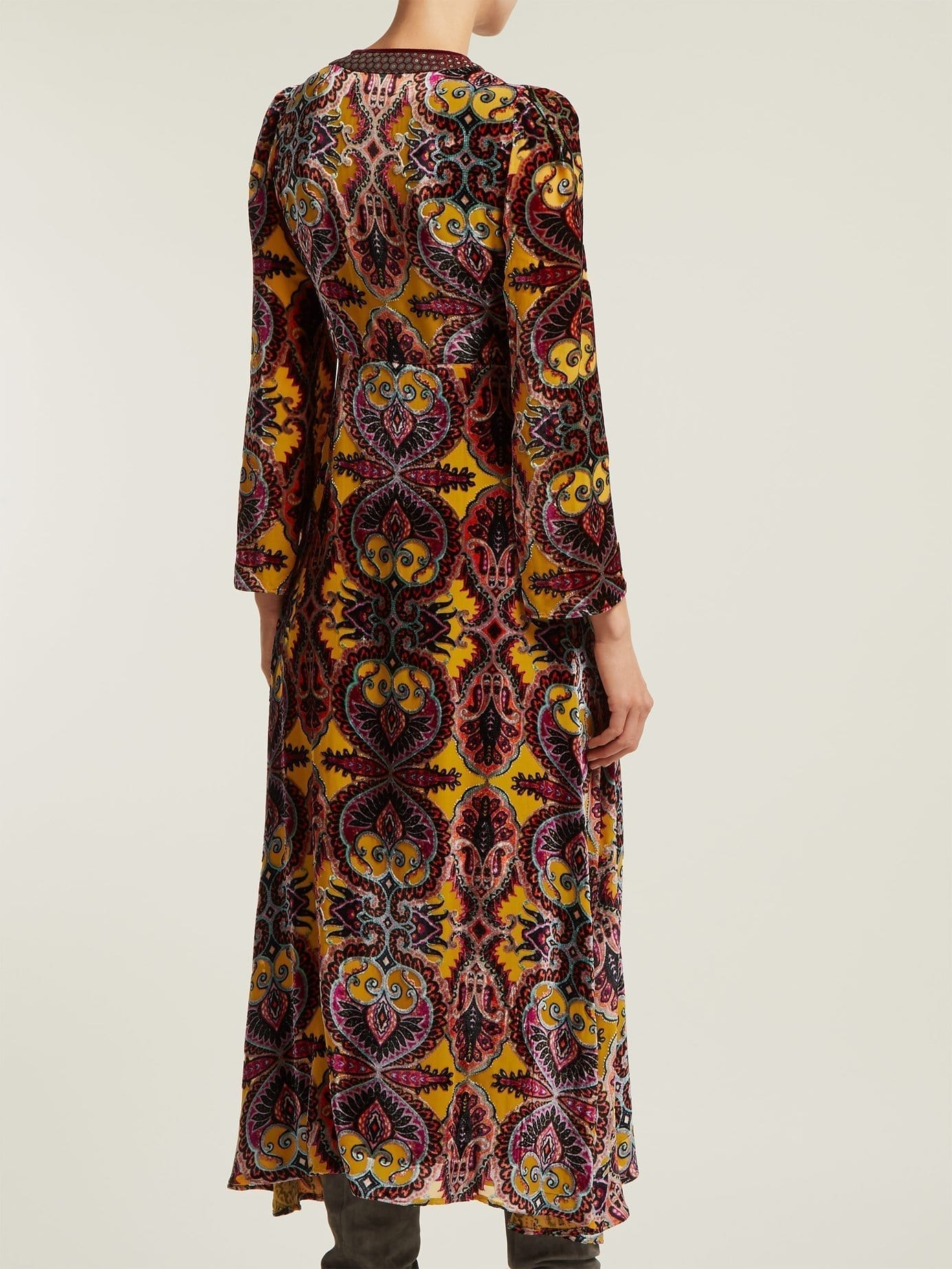 ETRO Paisley Devoré Velvet Midi Yellow Dress