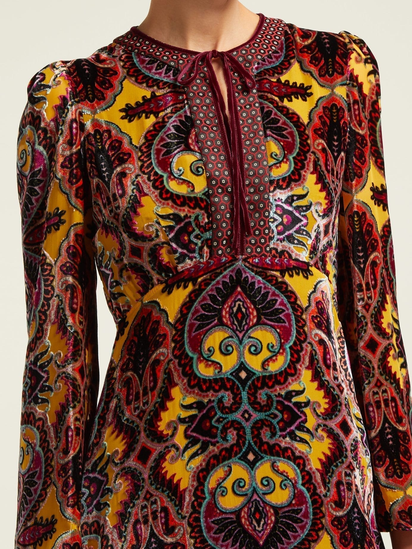 10b0a3eaab4 ETRO Paisley Devoré Velvet Midi Yellow Dress - We Select Dresses