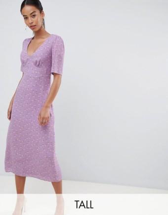 FASHION UNION Floral Tall Midi Tea Lilac Dress