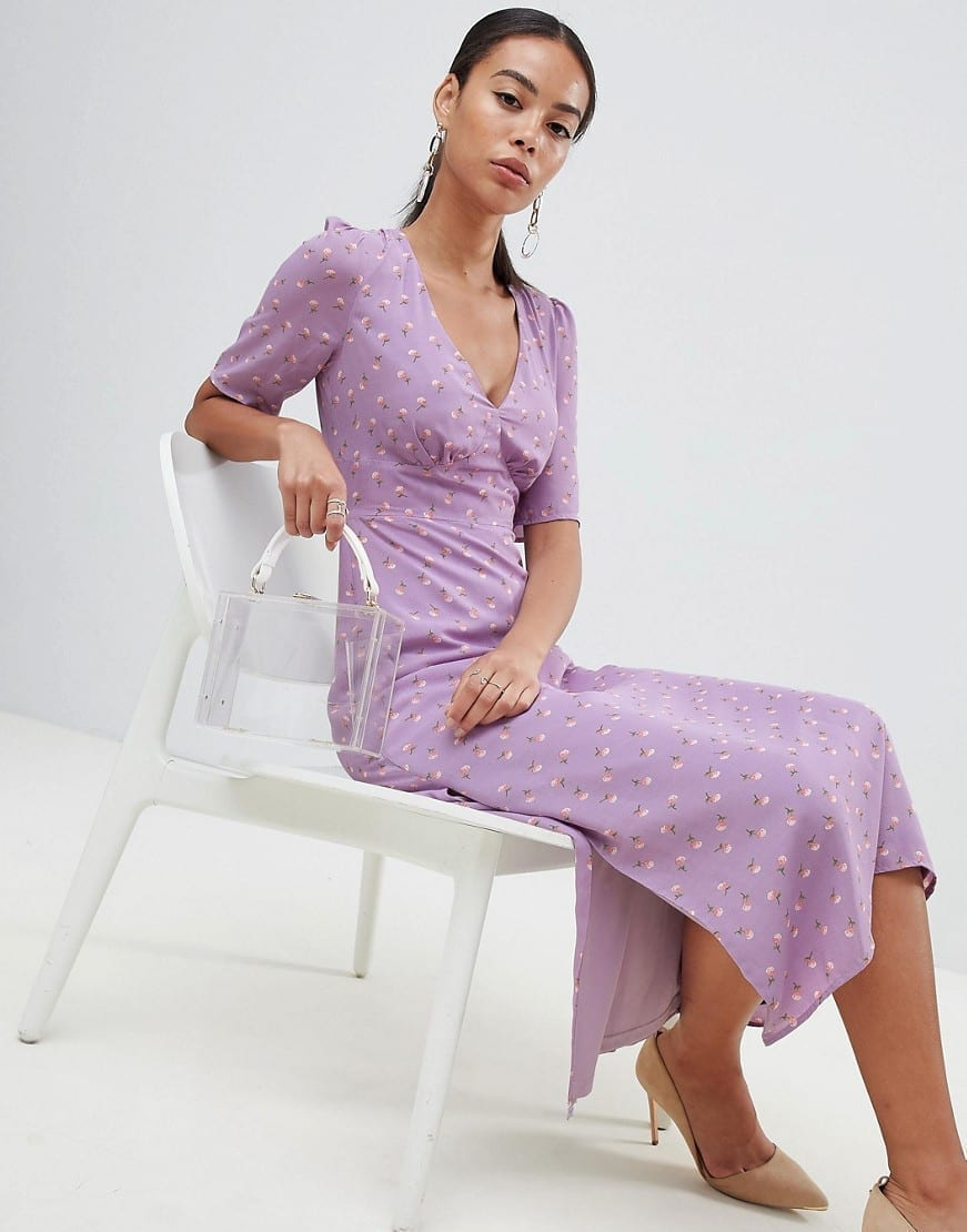 FASHION UNION Floral Tall Midi Tea Lilac Dress