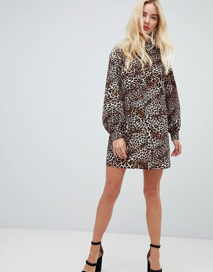 FASHION UNION High Neck Shirt Leopard Printed Dress