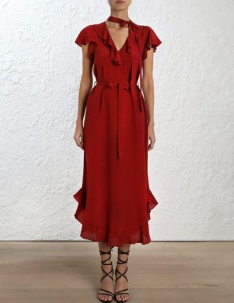 ZIMMERMANN Flounce Neck Midi Ruby Red Dress