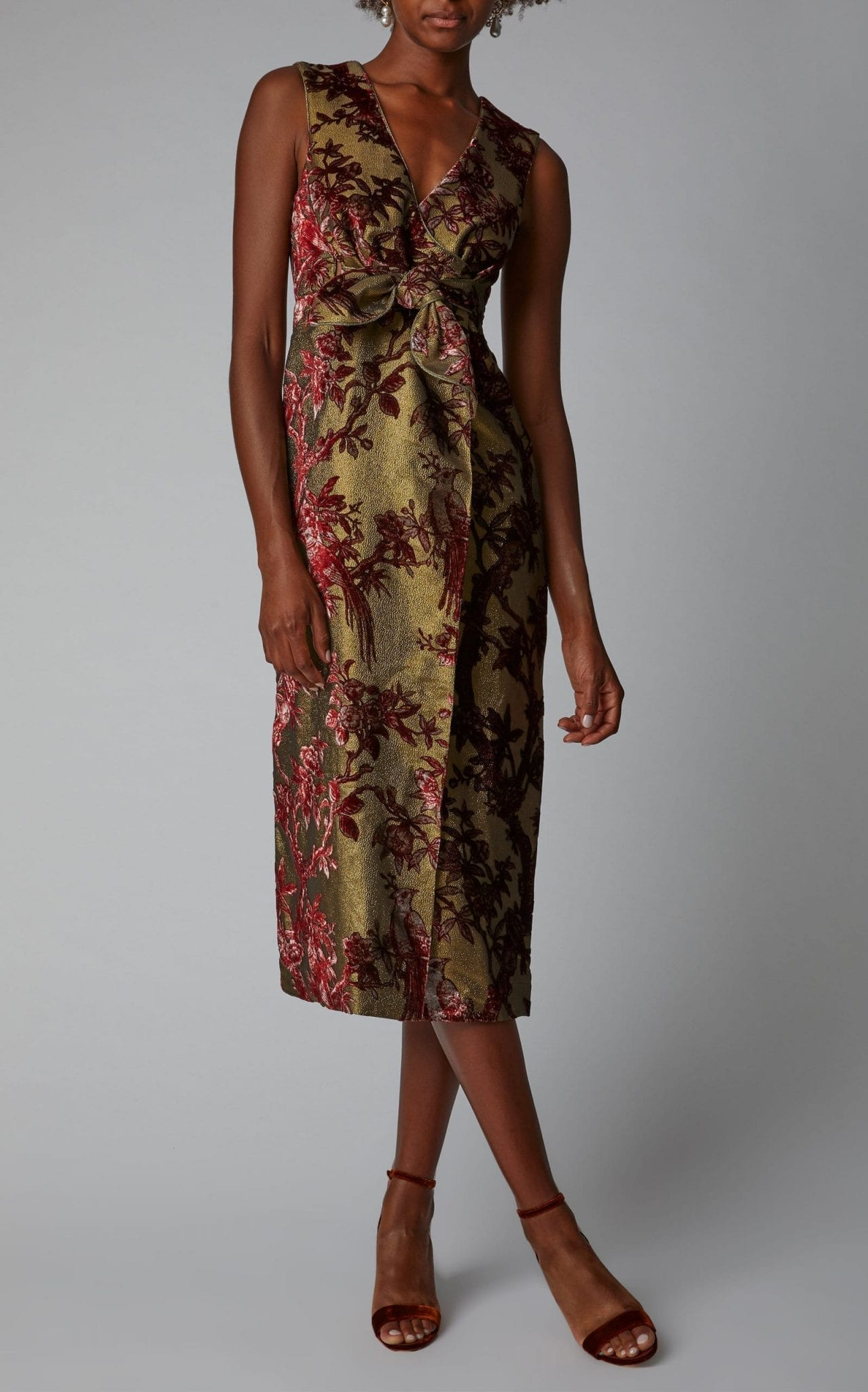 FOR RESTLESS SLEEPERS Meti Wrap Lurex Devoré Midi Floral Printed Dress