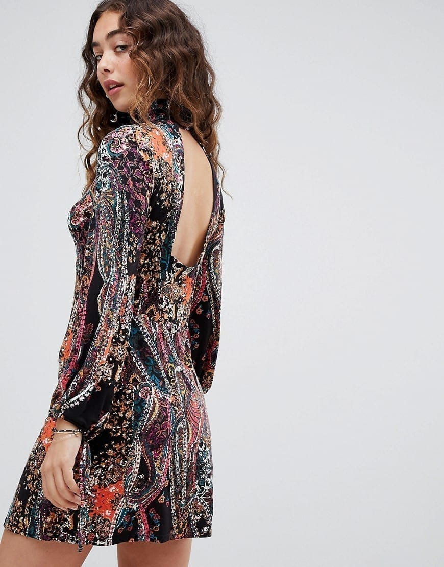 FREE PEOPLE All Dolled Up Printed Mini Black Dress