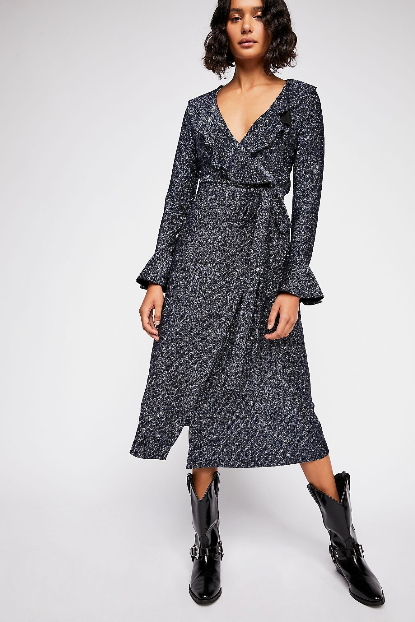 FREEPEOPLE One More Time Lurex Wrap Navy Dress