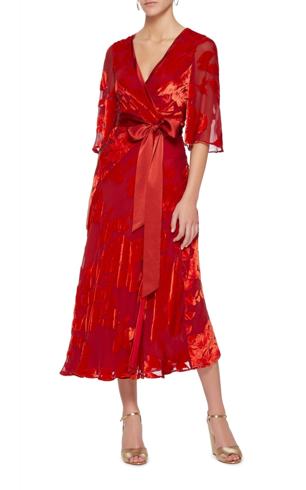 GALVAN Rose Wrap Red Dress