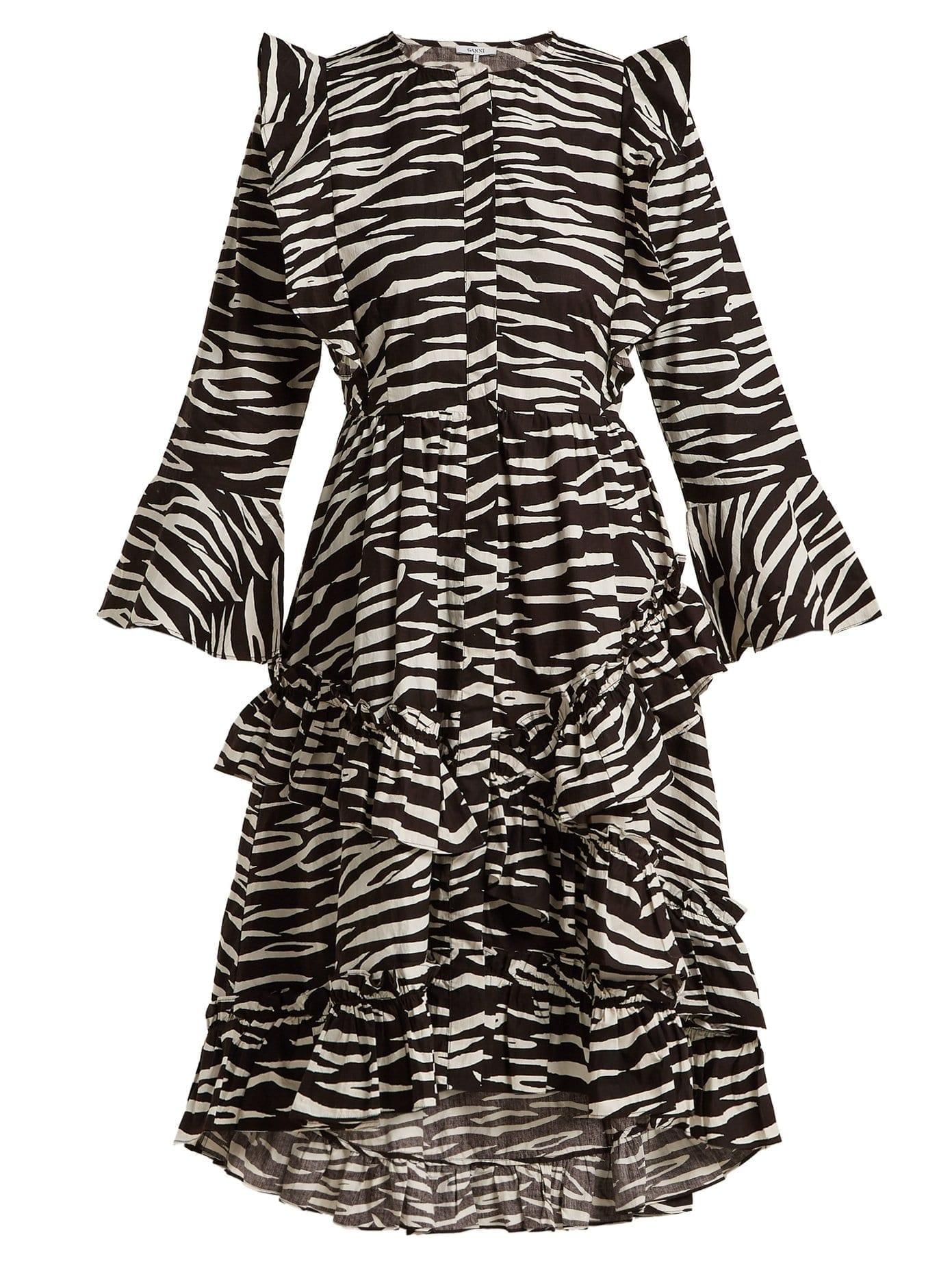 Ganni Faulkner Zebra Print Cotton Midi Black Dress We