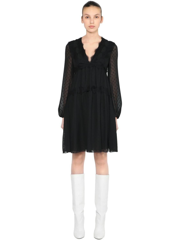 GIAMBA Polka Dot Chiffon Mini Lace Black Dress
