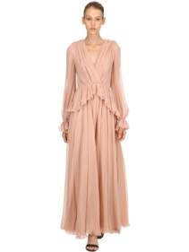 GIAMBATTISTA VALLI Draped Silk Light Pink Dress