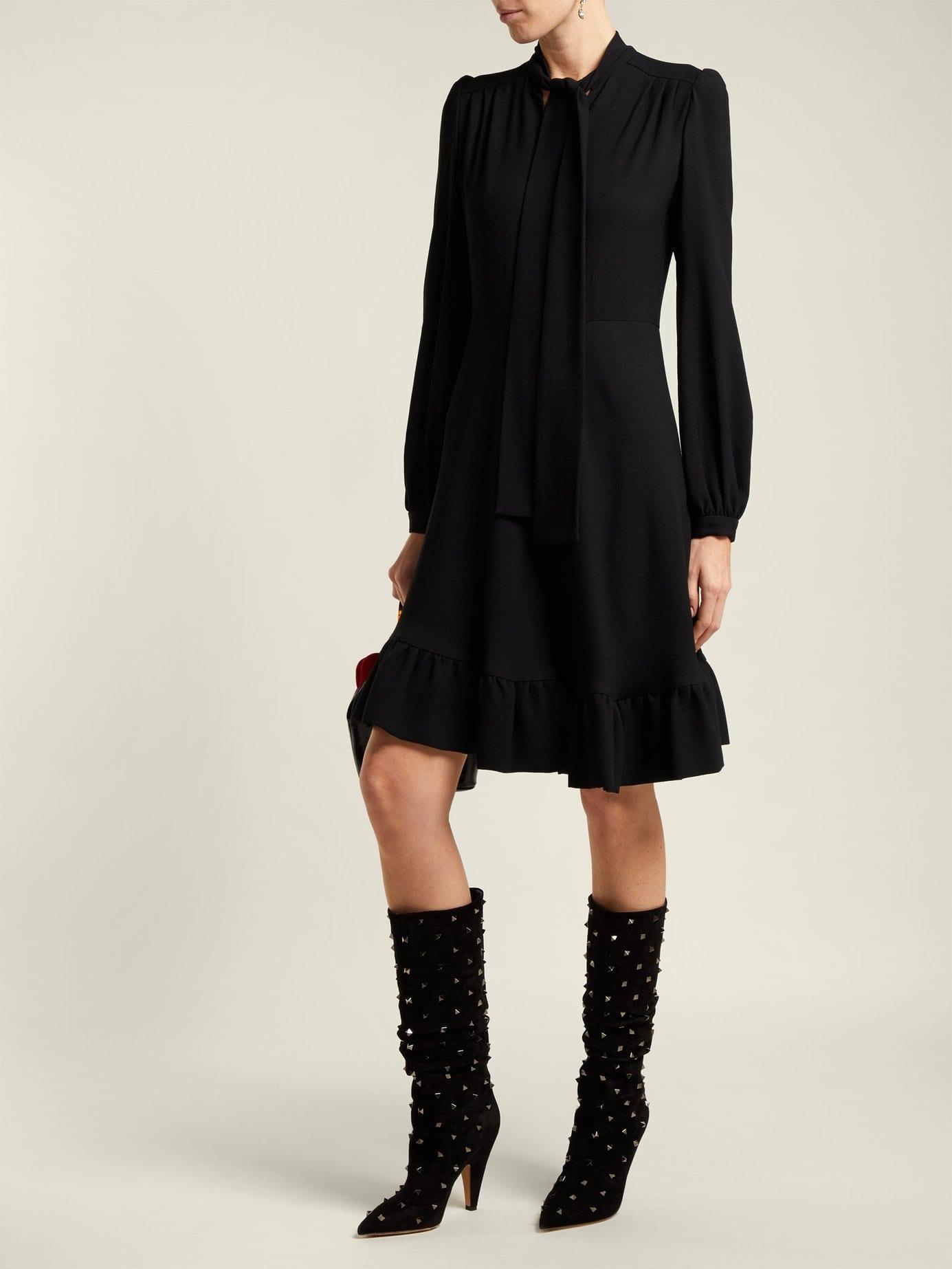 GIAMBATTISTA VALLI Pussy Bow Crepe Black Dress