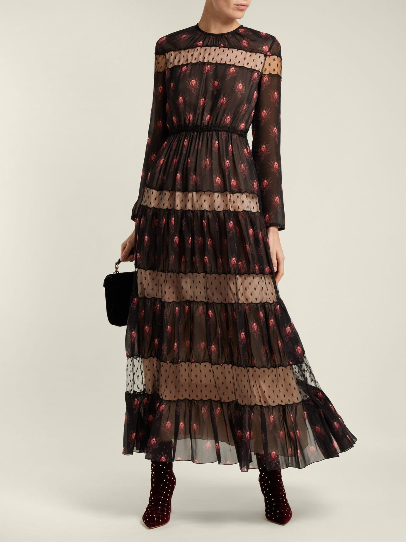 GIAMBATTISTA VALLI Rosebud Print Silk Chiffon Black Dress