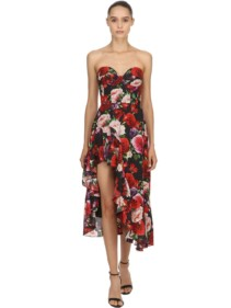 GIUSEPPE DI MORABITO Strapless Rose Printed Silk Crepe Multicolored Dress