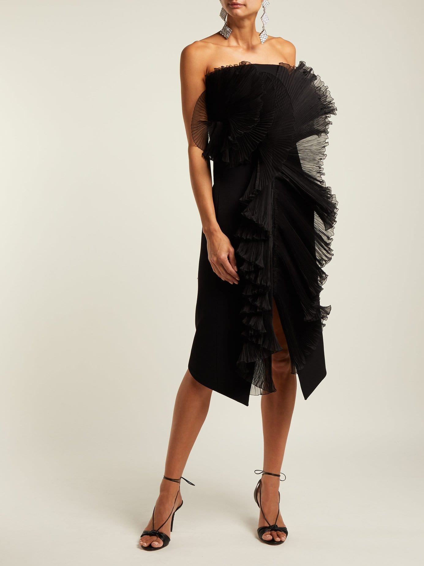 GIVENCHY Strapless Ruffle Trimmed Wool Midi Black Dress