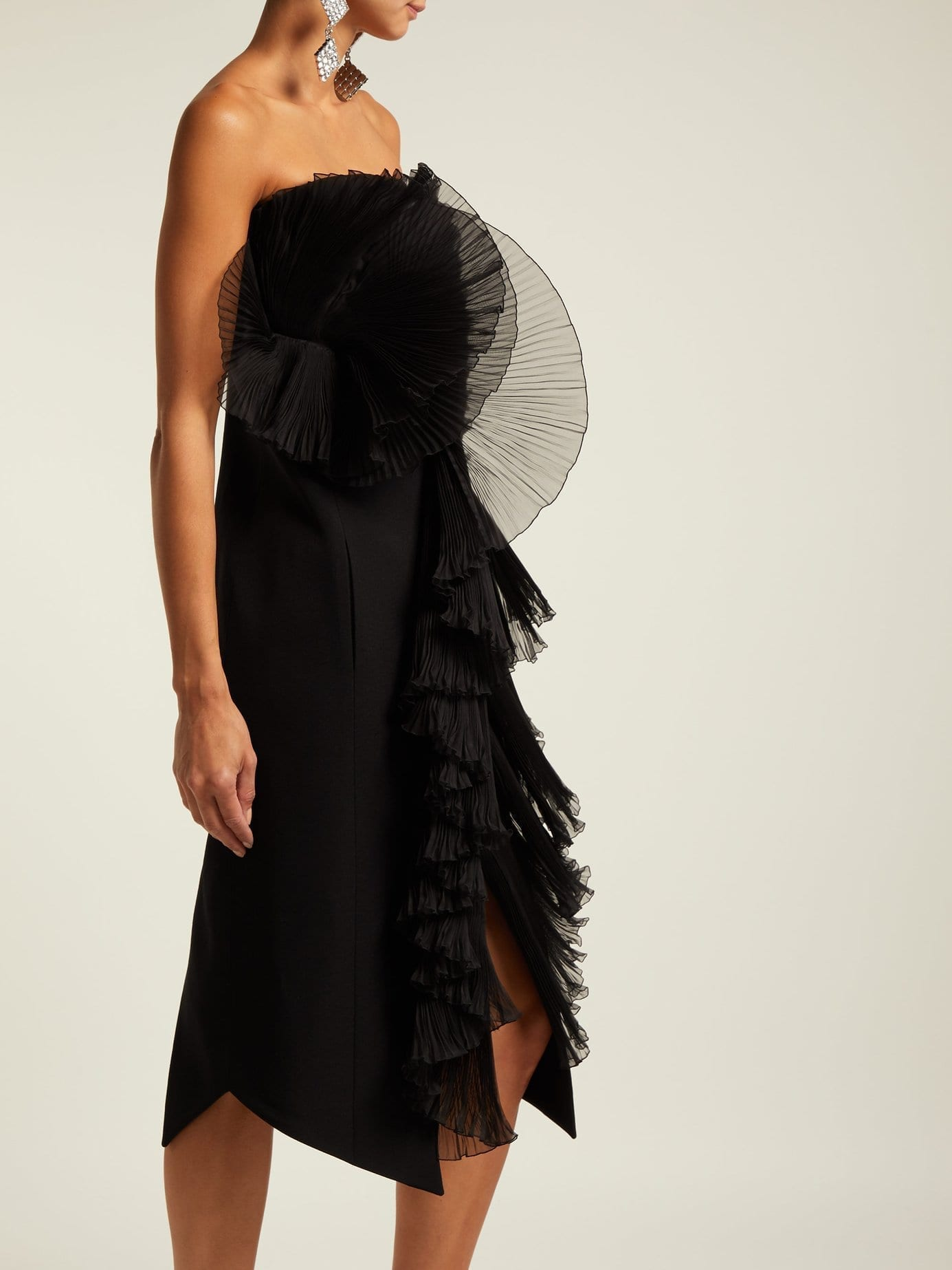 GIVENCHY Strapless Ruffle Black Dress - We Select Dresses