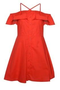 GLAMOROUS Button Through Poplin Red Dress