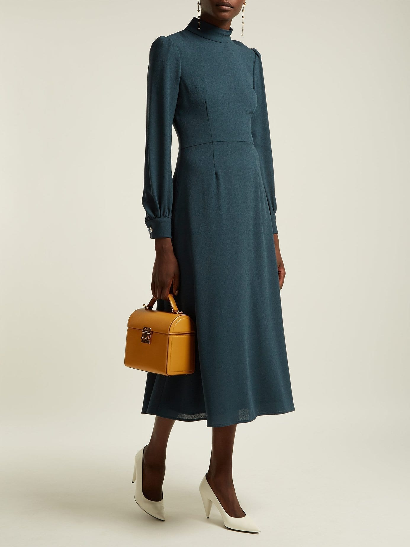 GOAT Goldfinch Wool Crepe Teal Blue Dress