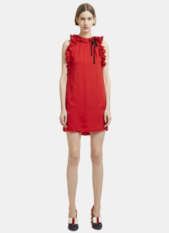 Gucci Sleeveless Ruffle Red Dress We Select Dresses