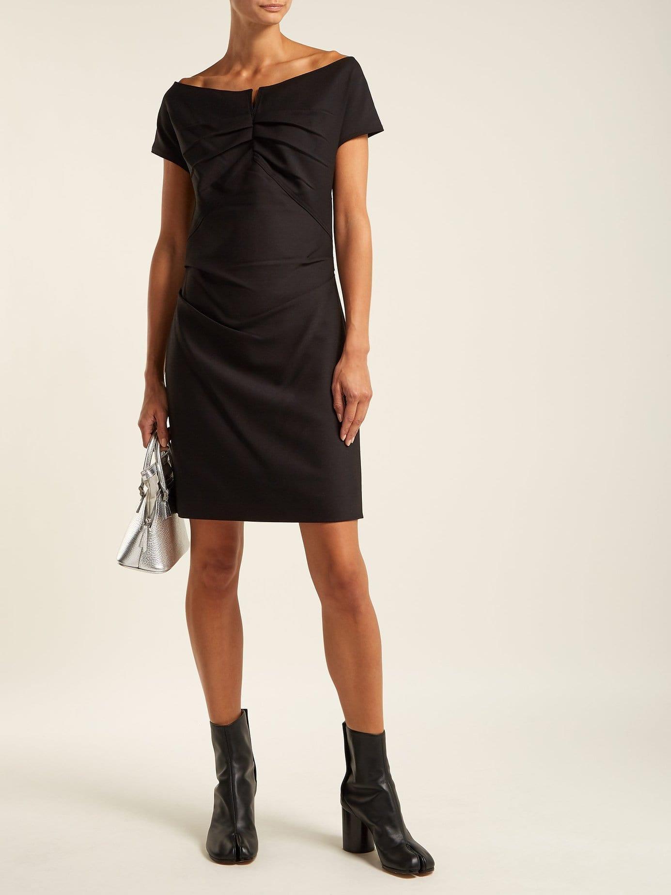 HELMUT LANG Off The Shoulder Crepe Black Dress