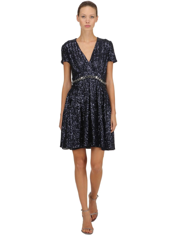 INGIE PARIS Chain Trim Sequins Blue Dress