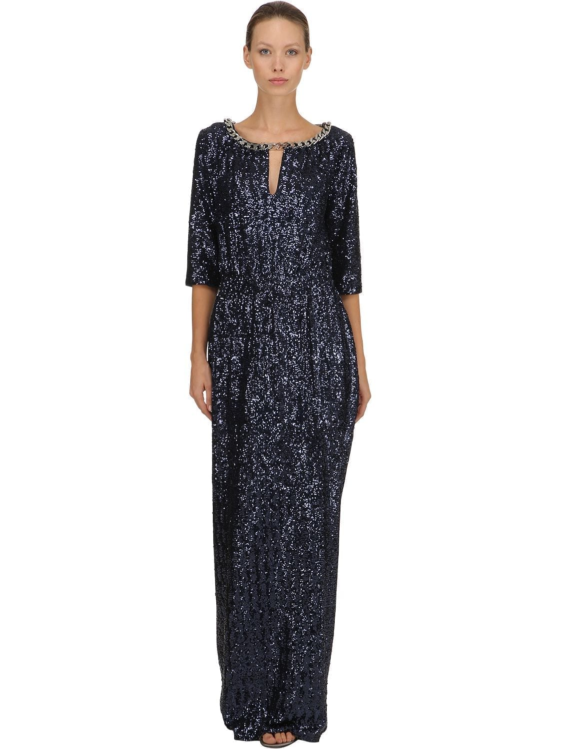 INGIE PARIS Sequined Long Chain Trim Blue Dress