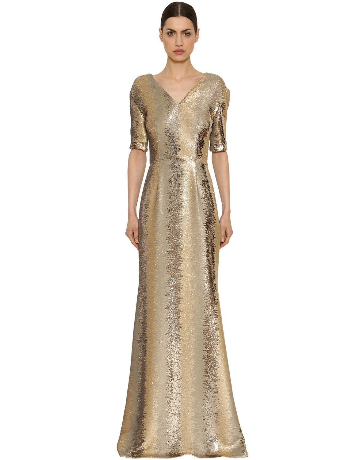 INGIE PARIS Sequined Tulle Long Gold Dress - We Select Dresses