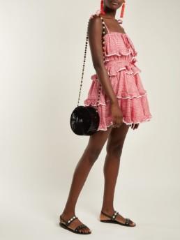 INNIKA CHOO Gingham Print Tiered Ruffle Cotton White / Red Dress