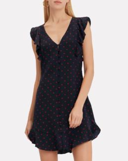 INTERMIX Mila Polka Dot Flutter Navy Dress