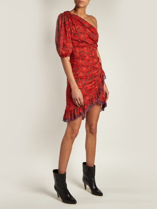 ISABEL MARANT ÉTOILE Esther Embroidered Asymmetric Red / Floral Printed Dress