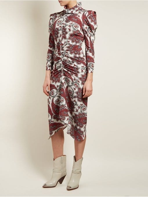 Isabel Marant Tizy Paisley-Print Silk High-Neck Red and White Dress