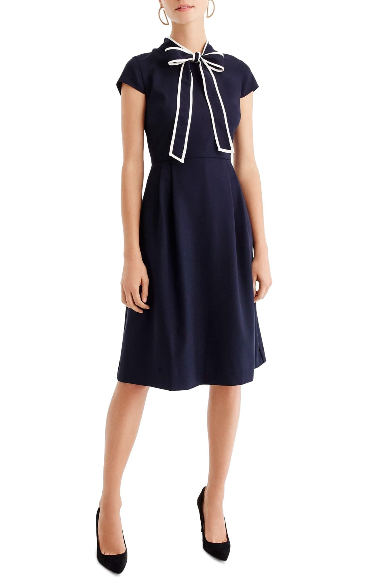 J.CREW Tie-Neck Navy Dress