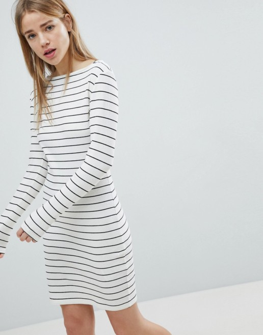 JDY Striped Ribbed Bodycon White Dress