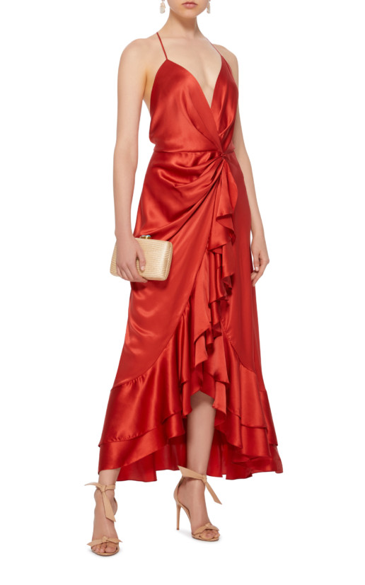 JOHANNA ORTIZ Perfumero Draped Silk-Charmeuse Red Dress