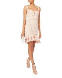 JONATHAN SIMKHAI Seersucker Bustier Mini Pink Dress