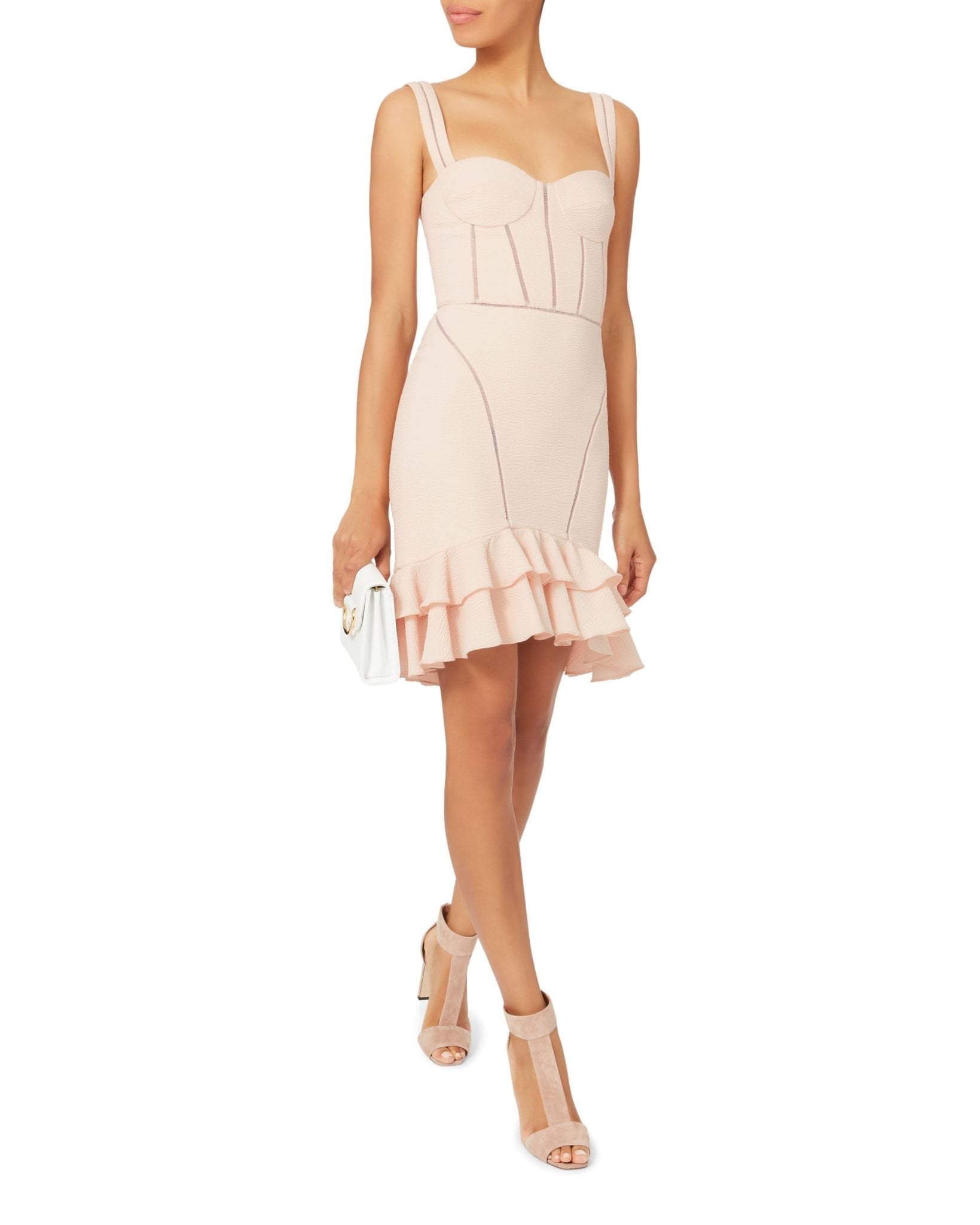 JONATHAN SIMKHAI Seersucker Bustier Mini Pink Dress