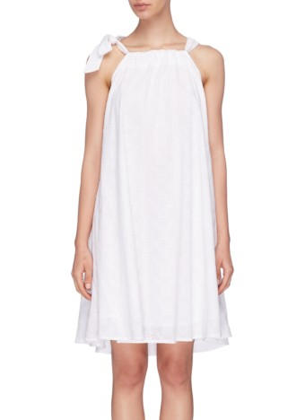 KALITA 'Charlie' Tie Shoulder Embroidered Tunic Dress