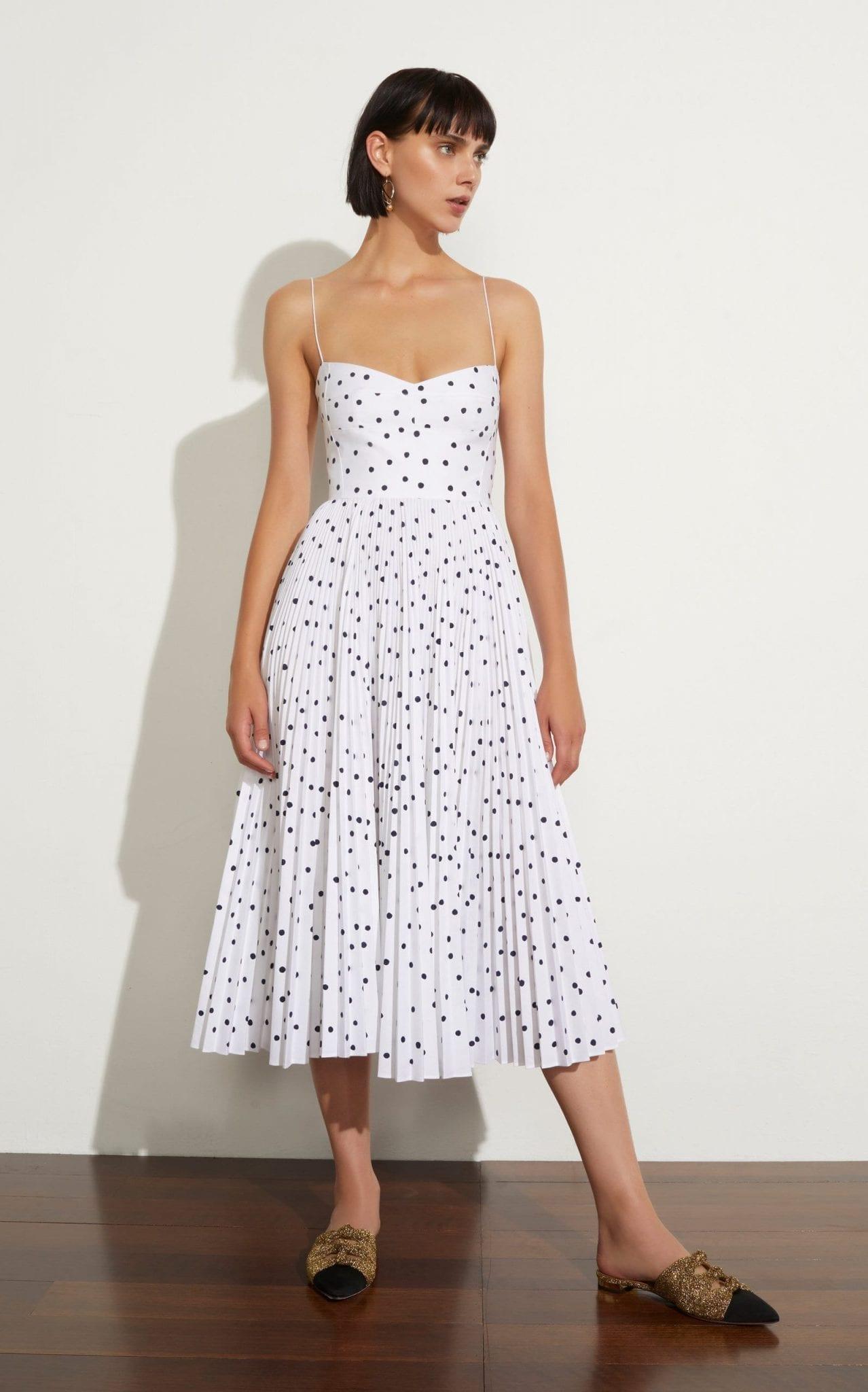 KHAITE Pamela Polka-Dot Flocked Cotton White Dress