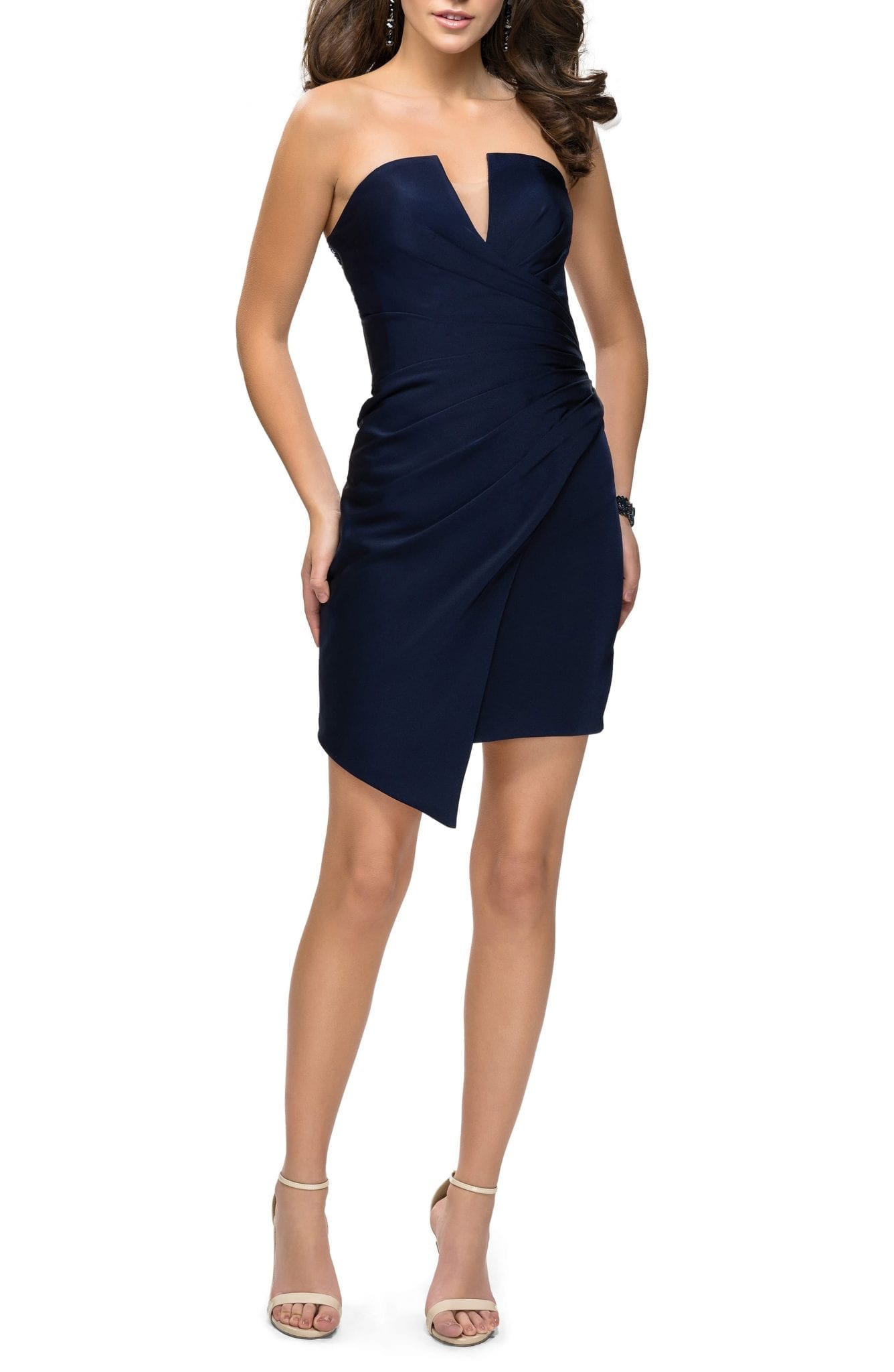 LA FEMME Strapless Asymmetrical Party Navy Dress