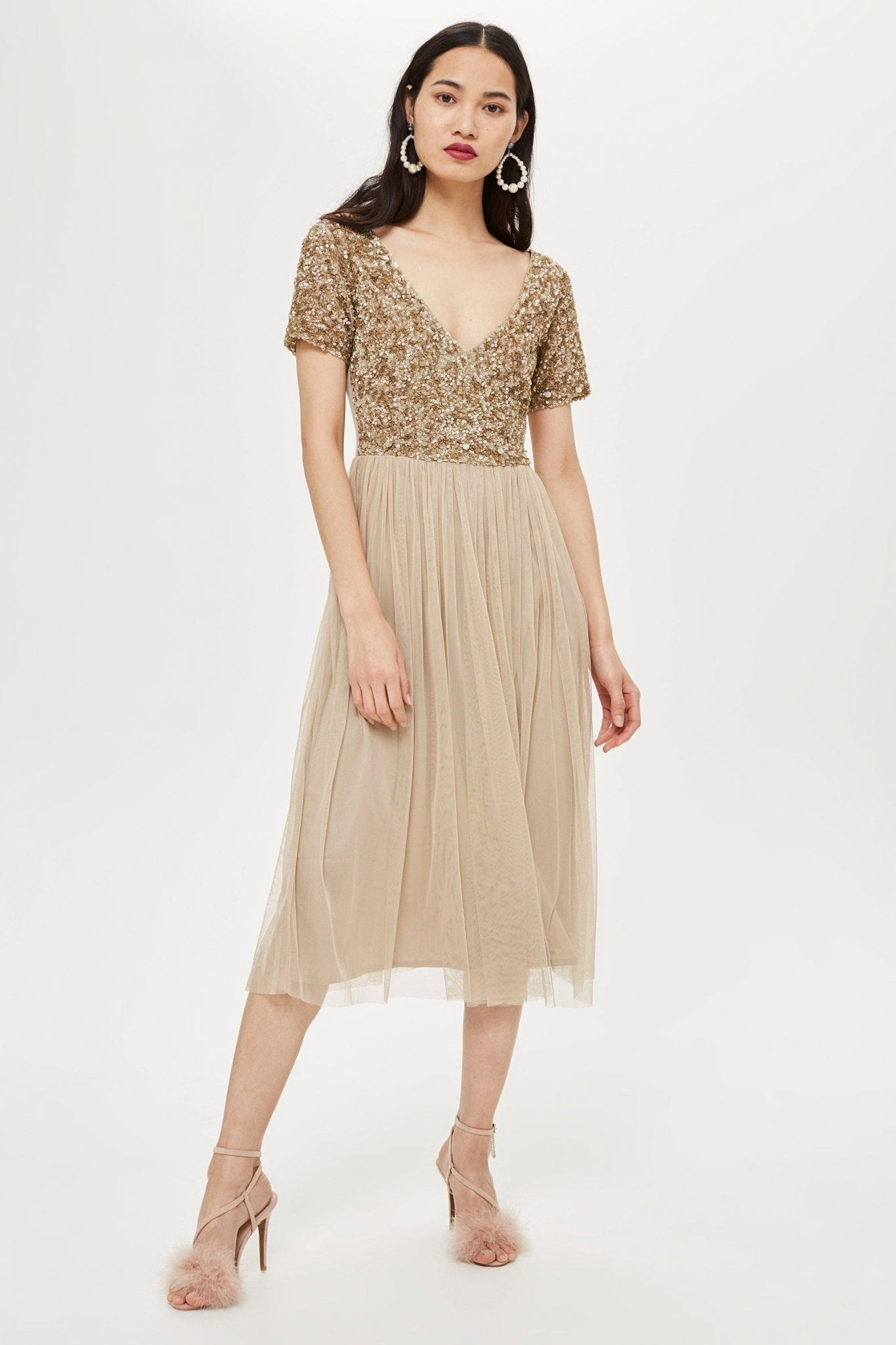 LACE & BEADS Chandelier Midi Taupe Dress