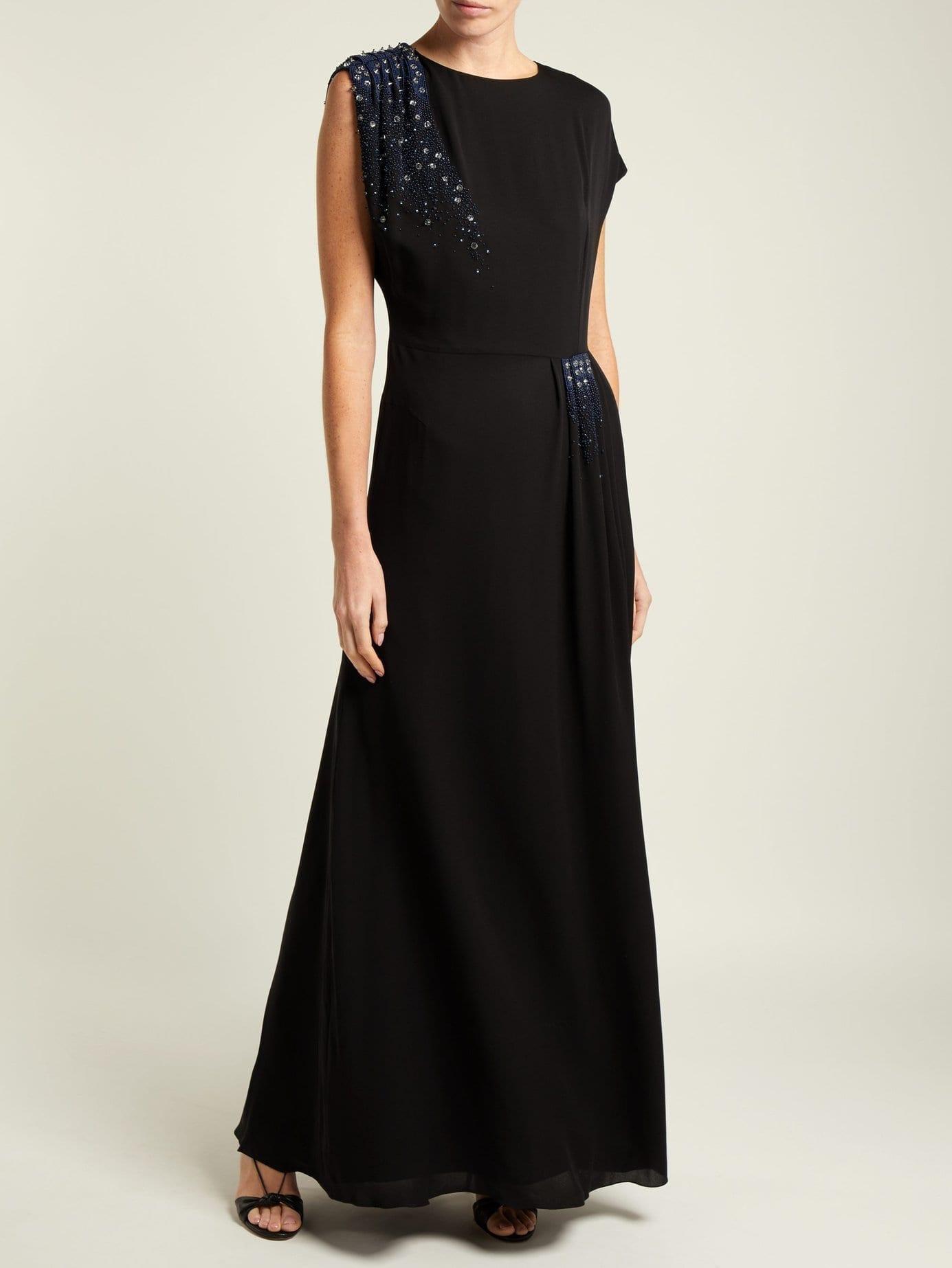 LANVIN Beaded Silk Georgette Black Gown
