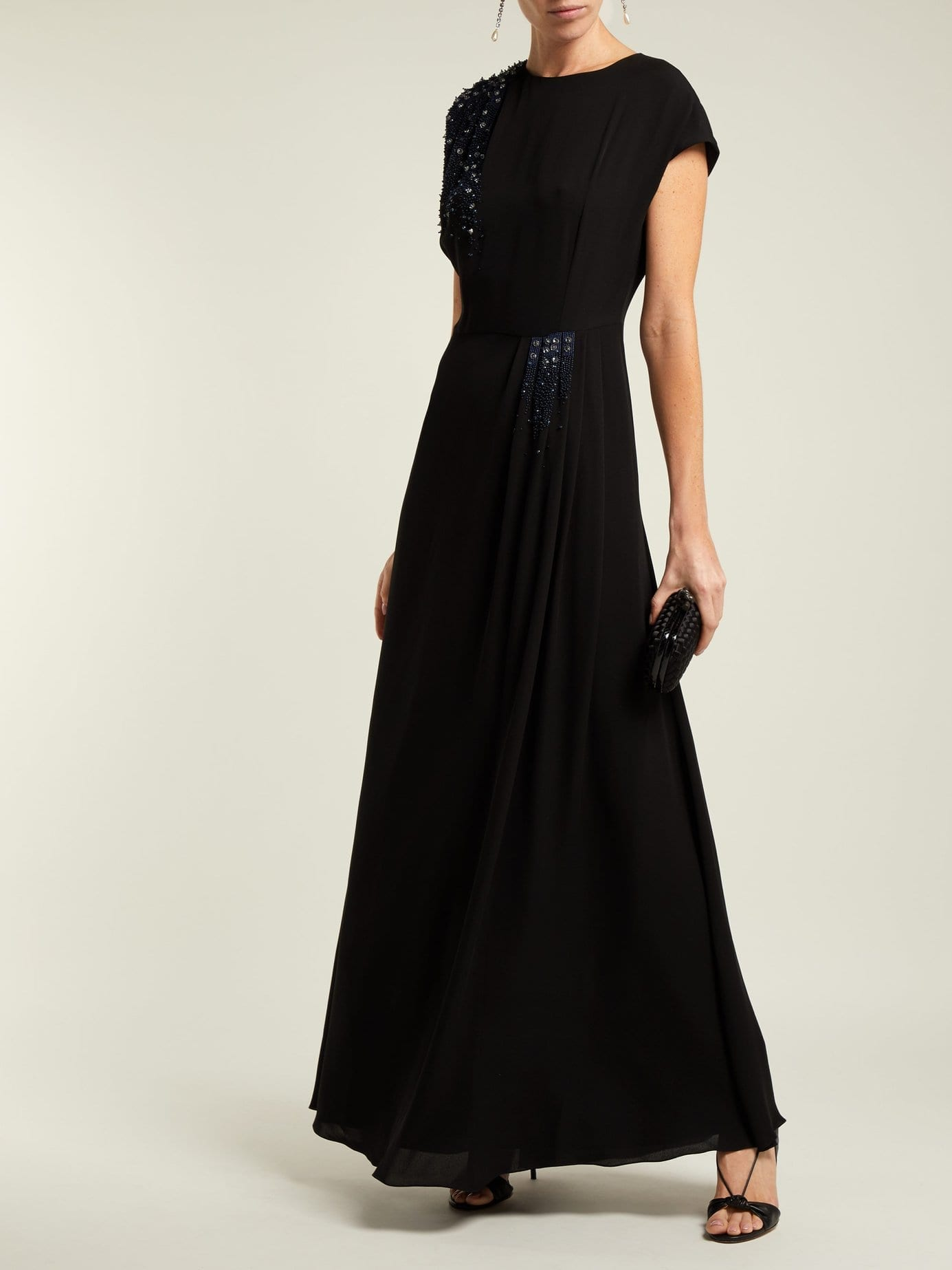LANVIN Beaded Silk Georgette Black Gown - We Select Dresses