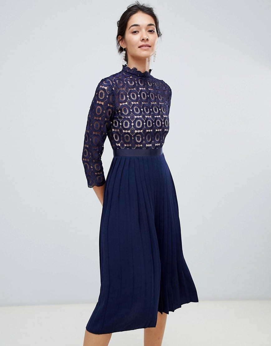 LITTLE MISTRESS 3/4 Sleeve Lace Top Pleated Midi Navy Dress
